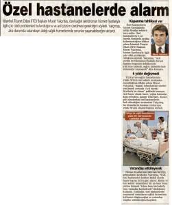 Posta - Özel Hastanelerde Alarm