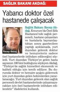 Türkiye - Yabancı Doktor Özel Hastanede Çalışacak