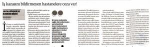 DÜNYA  İŞ KAZASINI BİLDİRMEYEN HASTANELERE CEZA VAR 30.12.2015