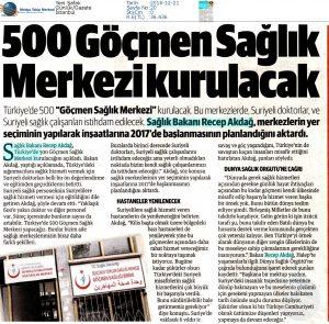 500 Göçmen Sağlık Merkezi Kurulacak