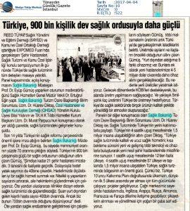 Tünaydın - Türkiye, 900 Bin Kişilik Dev Sağlık Ordusuyla Daha Güçlü – 4 Nisan 2017