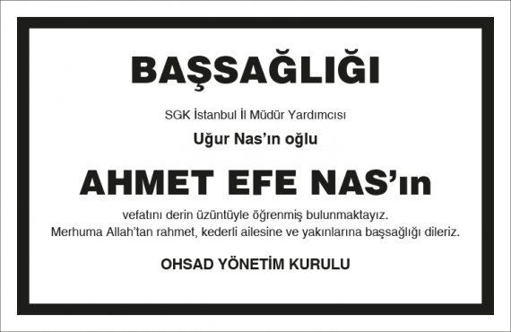 Ahmet Efe Nas için Vefat ve Başsağlığı