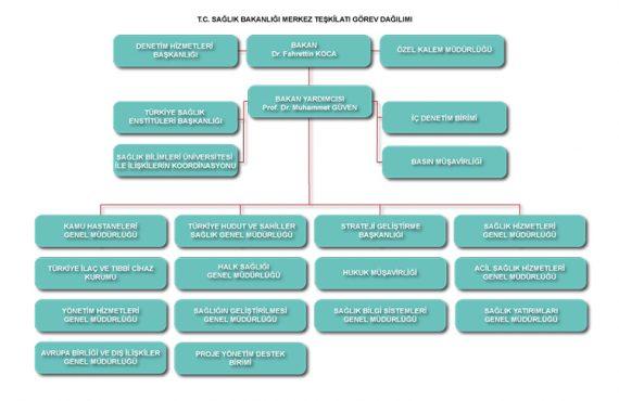 Sağlık Bakanlığı Merkez Teşkilatı Görev Dağılım Şeması Yayımlandı