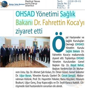 OHSAD Yönetimi Sağlık Bakanı Dr. Fahrettin Koca'yı Ziyaret Etti