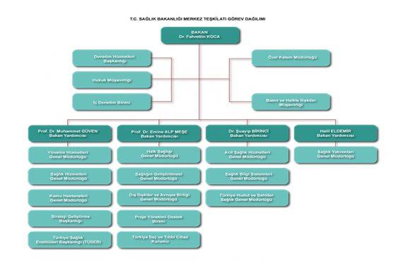 Sağlık Bakanlığı Merkez Teşkilatı Görev Dağılım Şeması Yayınlandı